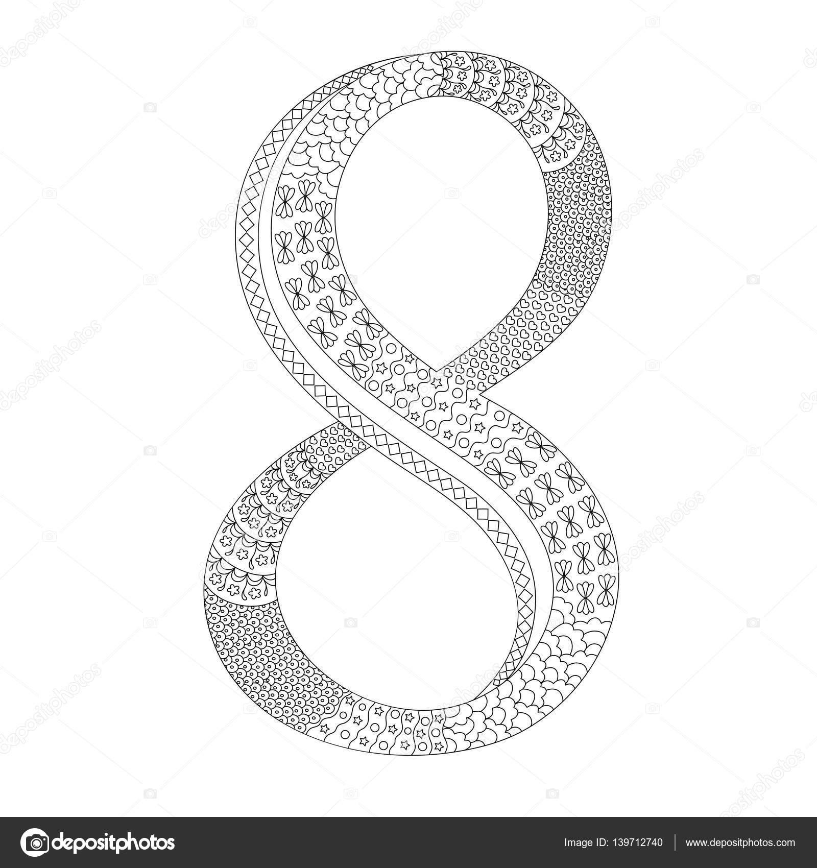 kleurplaat met het cijfer 8 tekenen doodle