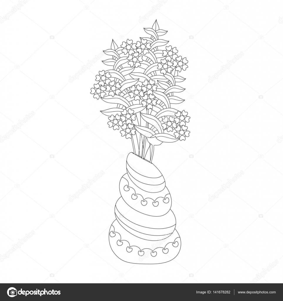 Yetişkinler Ve çocuklar Için Boyama Sayfası Vazoda Fantezi çiçekler