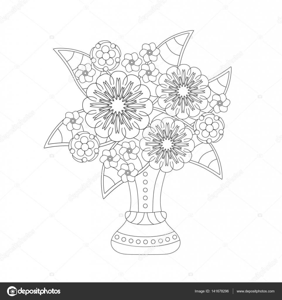 Libro para colorear para niños y adultos. Ramo de flores de fantasía ...