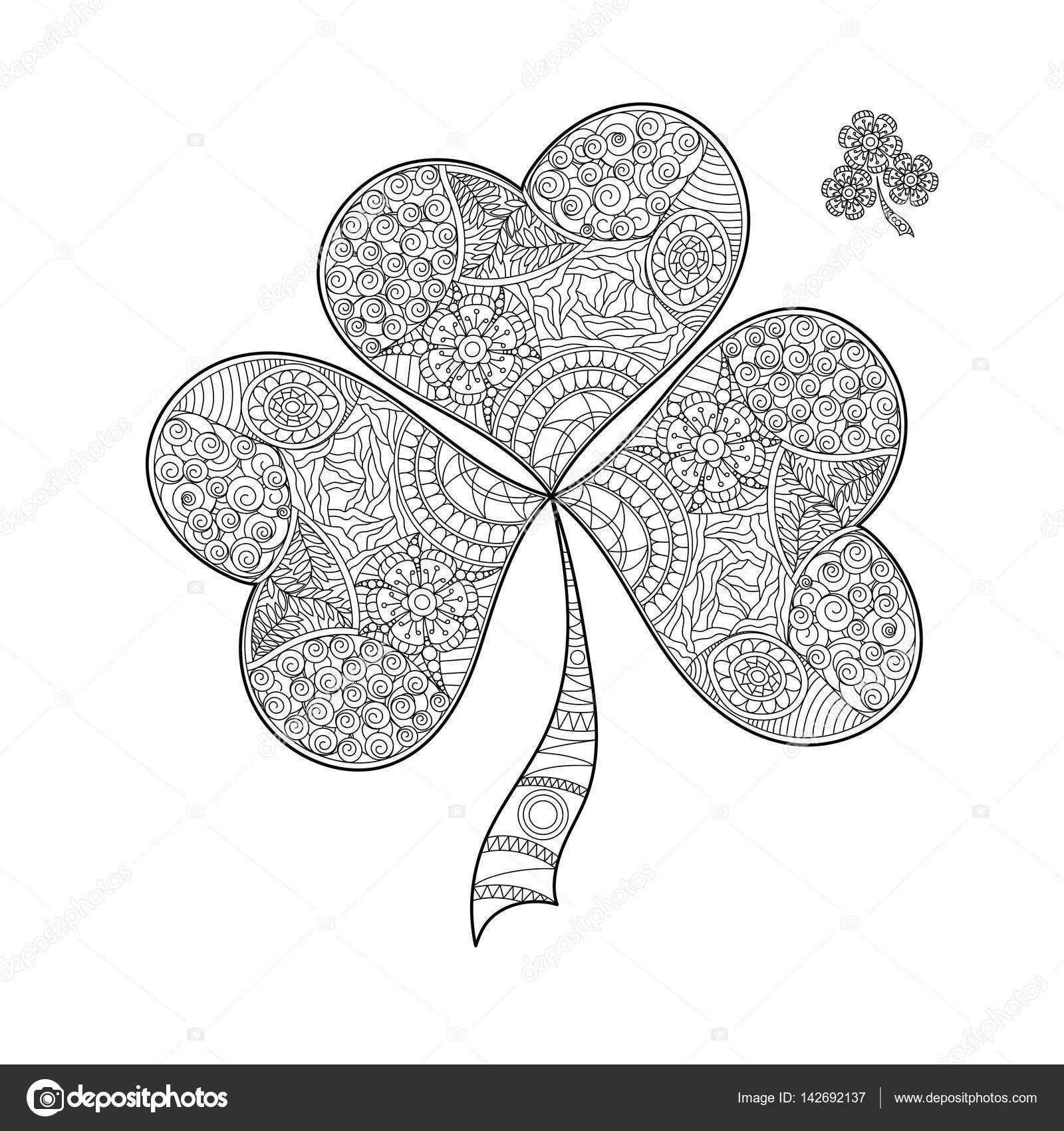 Kitap Shamrock St Patricks Dayblack Ve Beyaz Yonca üç Yaprakları