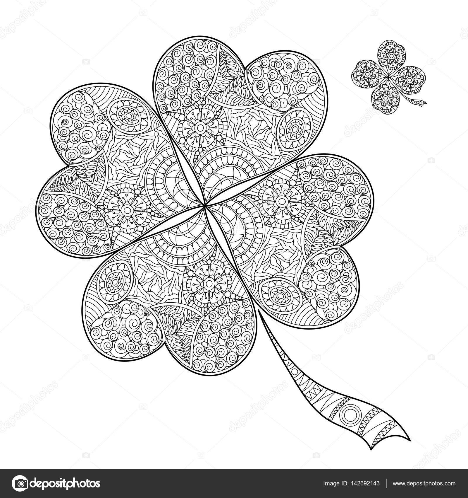 Kitap Shamrock St Patricks Dayblack Ve Beyaz Yonca Dört Yaprakları