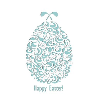 Happy Easter openwork white paper card. Egg with bow. Stencil design. Laser decoration template for greeting cards, invitations, interior decorative elements. Vector illustration.