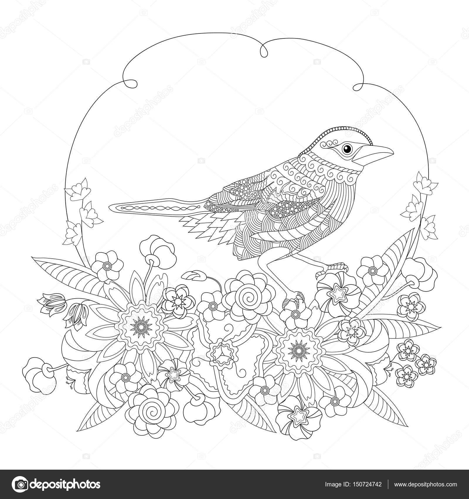 Fantasy bird in flowers. Coloring book for adults and children ...