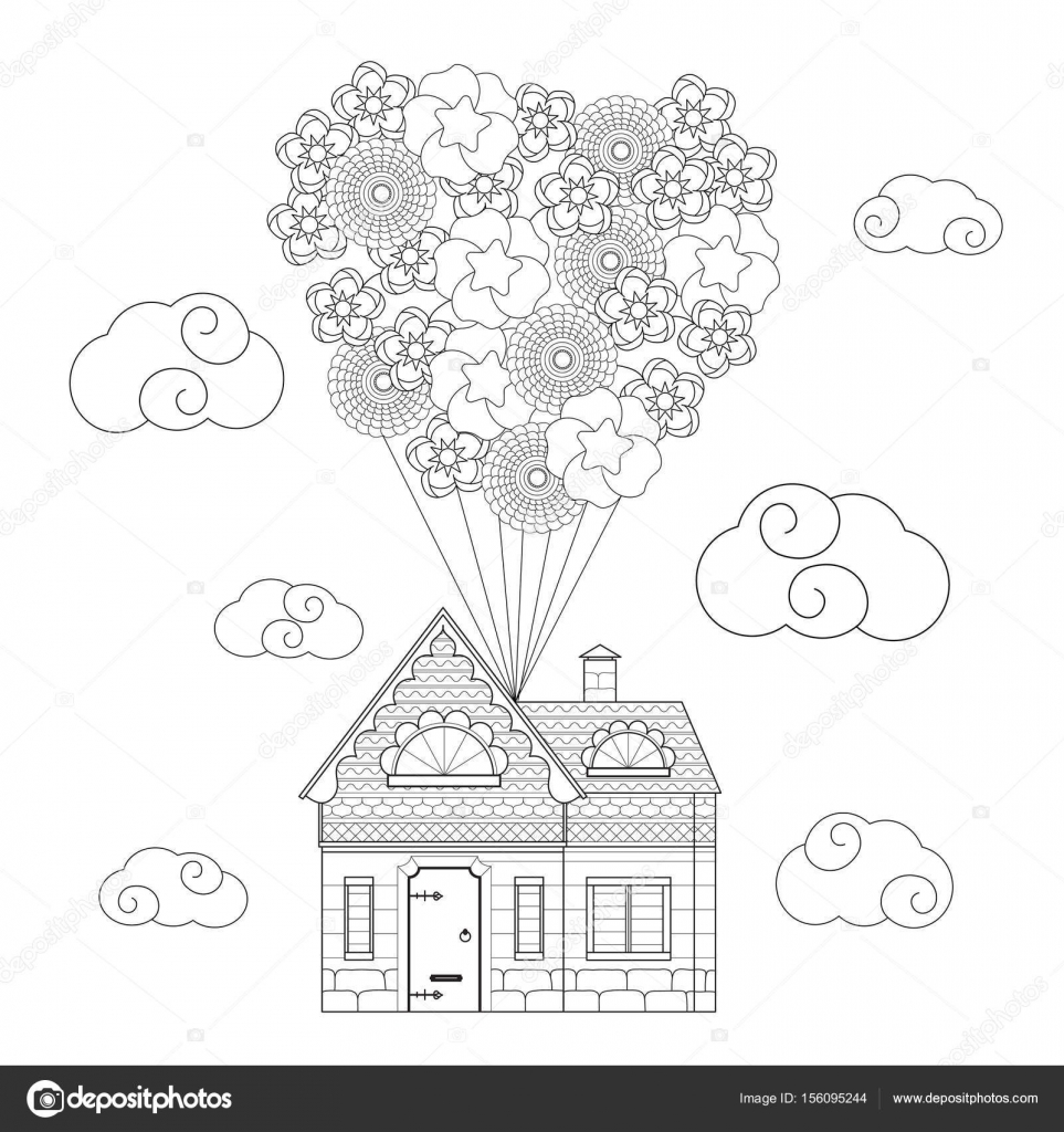 Village House Flying In Clouds On A Balloon Of Flowers Coloring