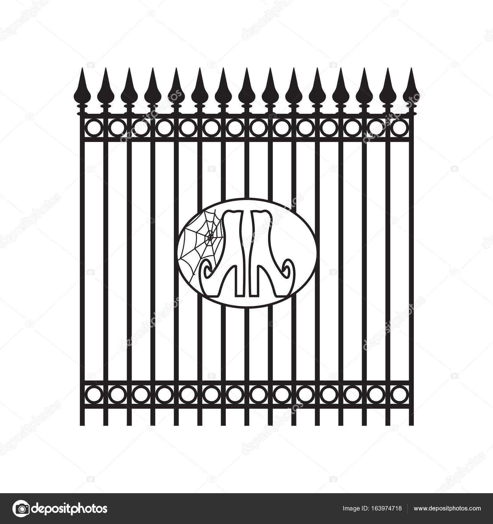 Forged Iron Fence With Decorative Element Halloween Witch