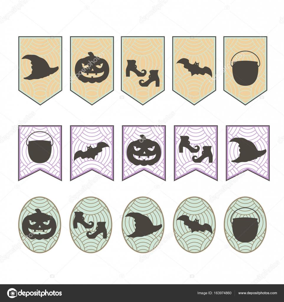 Bandiere su Halloween con sagome  un pipistrello d3a3b46c0ac4