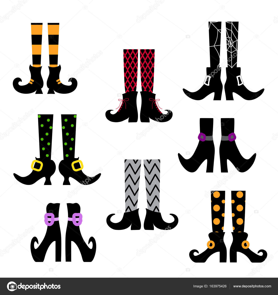 Conjunto de siluetas de vector de piernas Brujas color en medias y ...