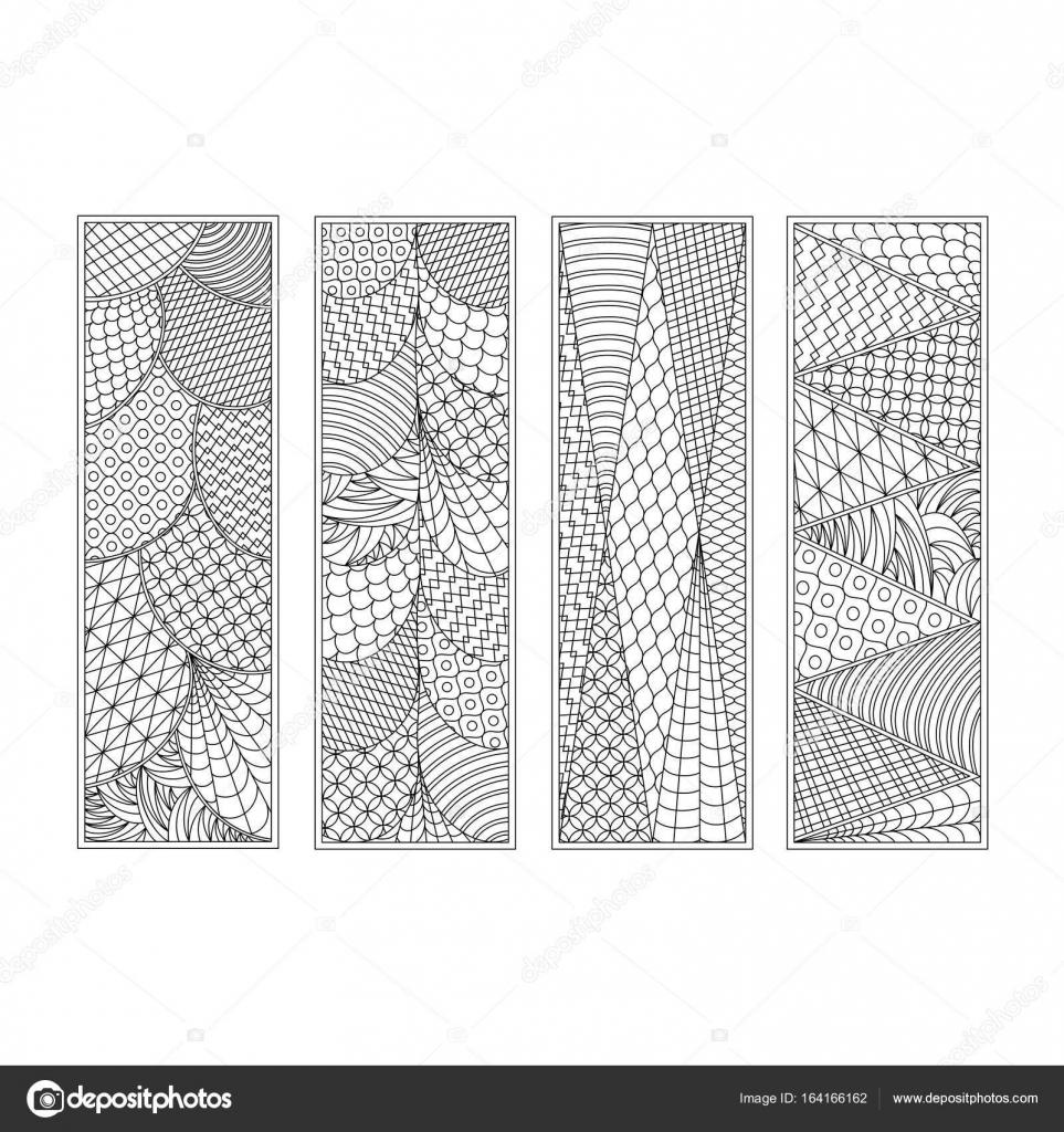 Satz von vier Lesezeichen. Black And White Hand zeichnen Skizze im ...