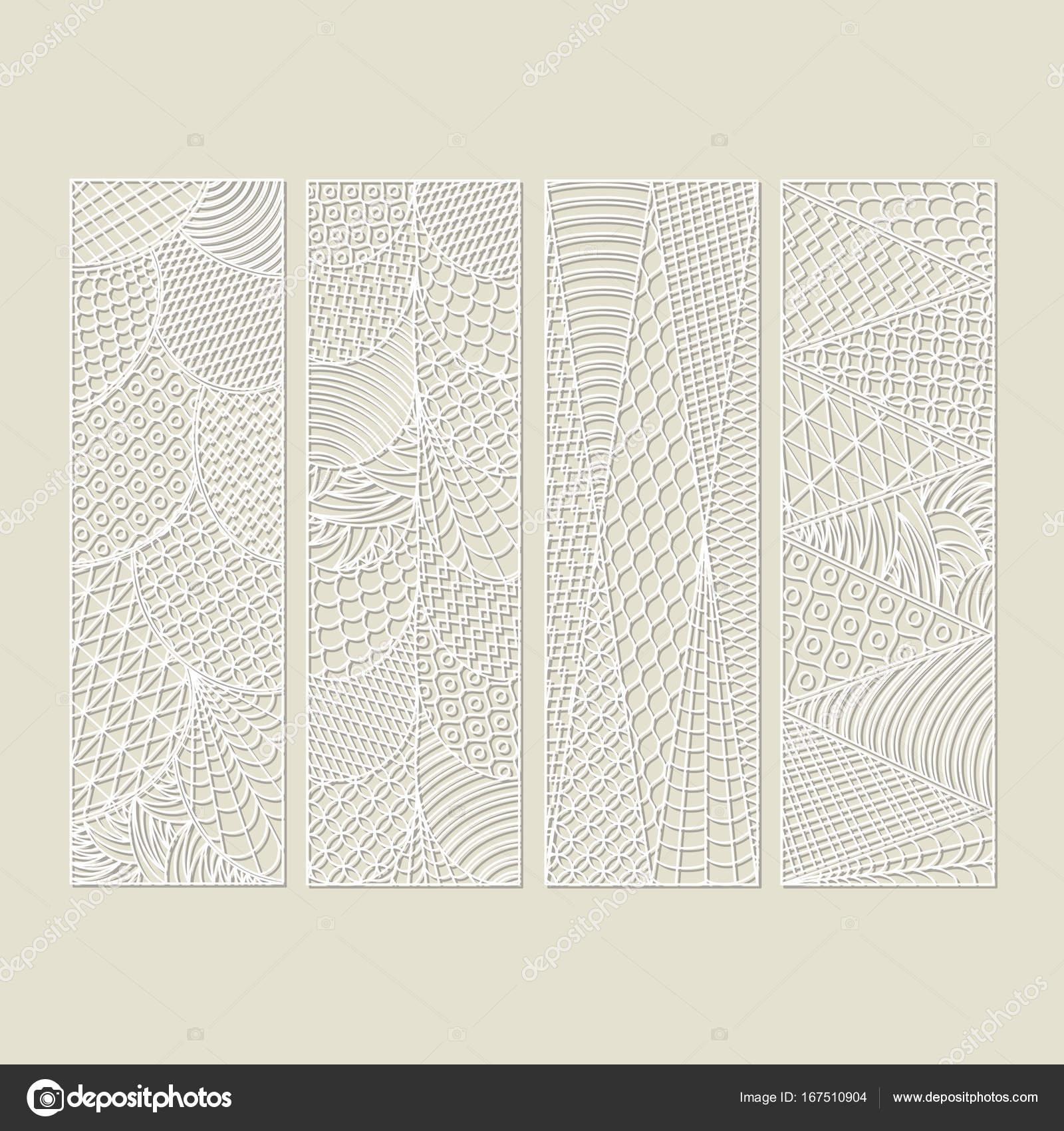 Satz von vier durchbrochenen Weißbuch Lesezeichen. Schablone Design ...
