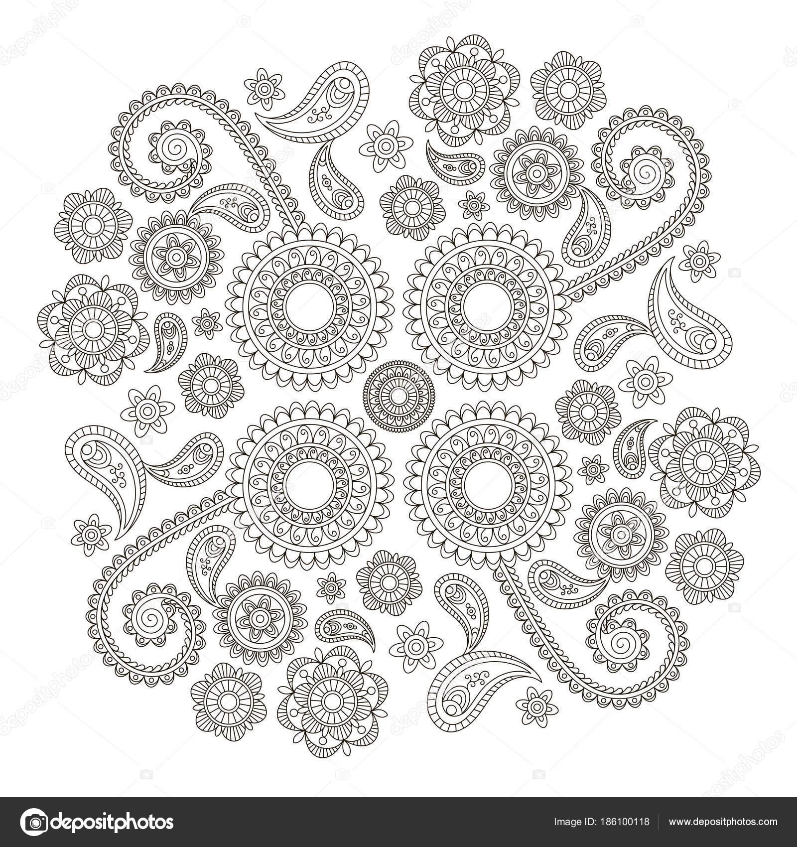 Indische Blumenmuster Im Mehndi Stil Schwarz Weiß Vektor