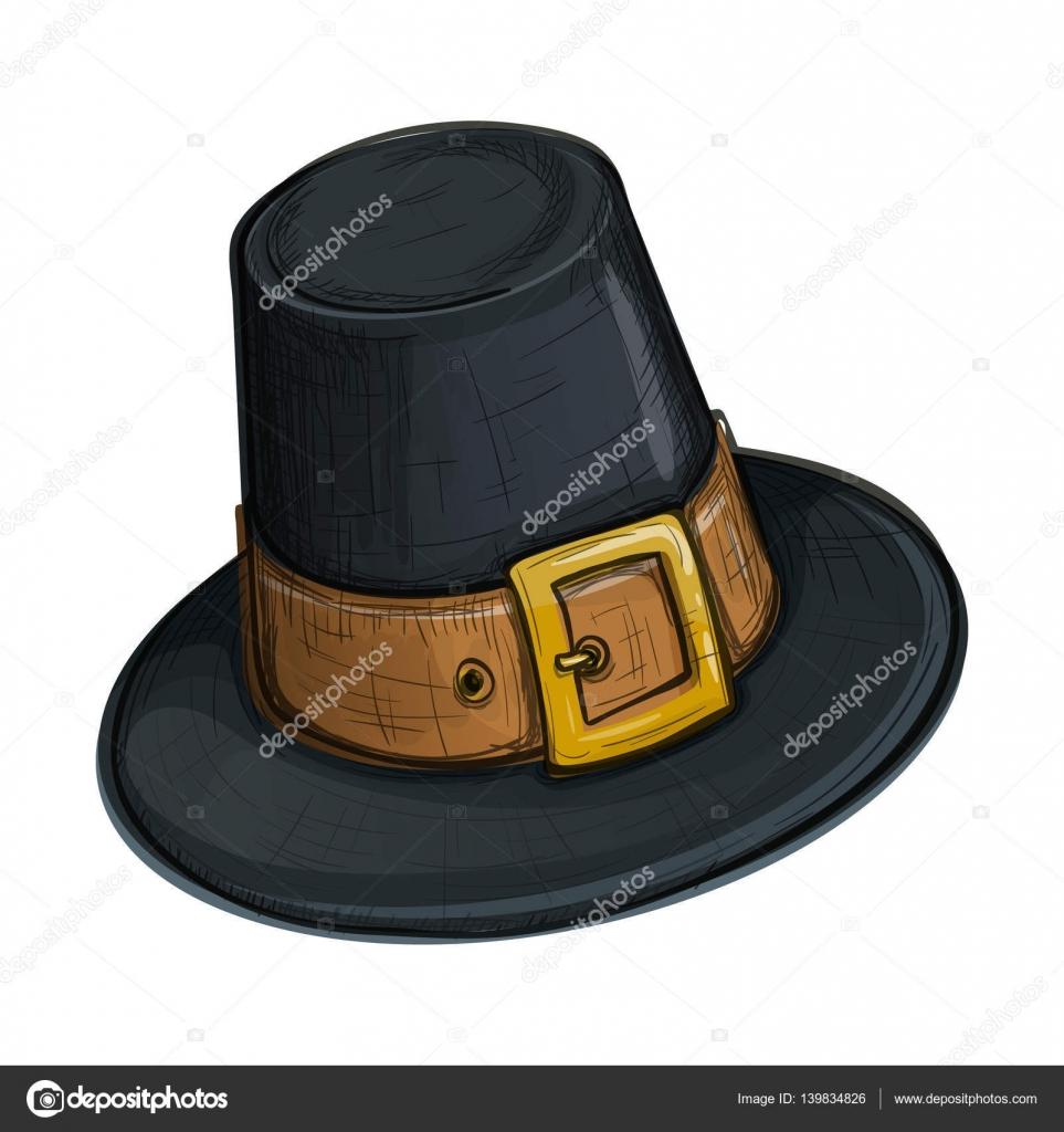 Dibujo colorido estilo sombrero de peregrino — Archivo Imágenes ...