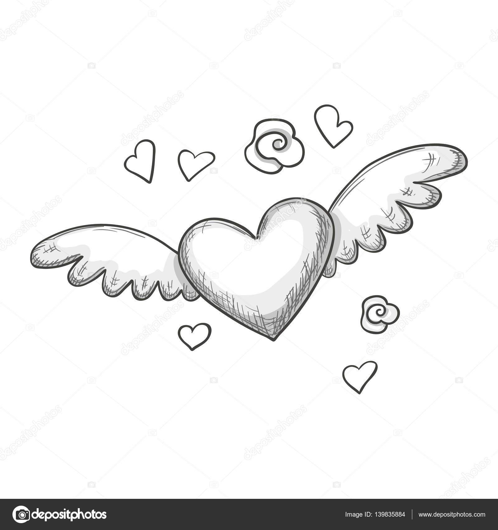 Desenho De Coração Com Asas