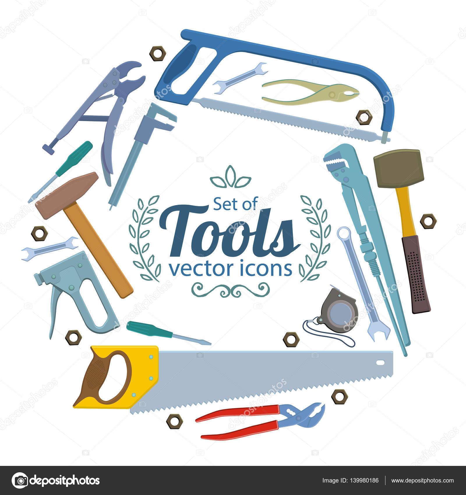 Marco redondo con iconos de herramientas de reparación — Archivo ...