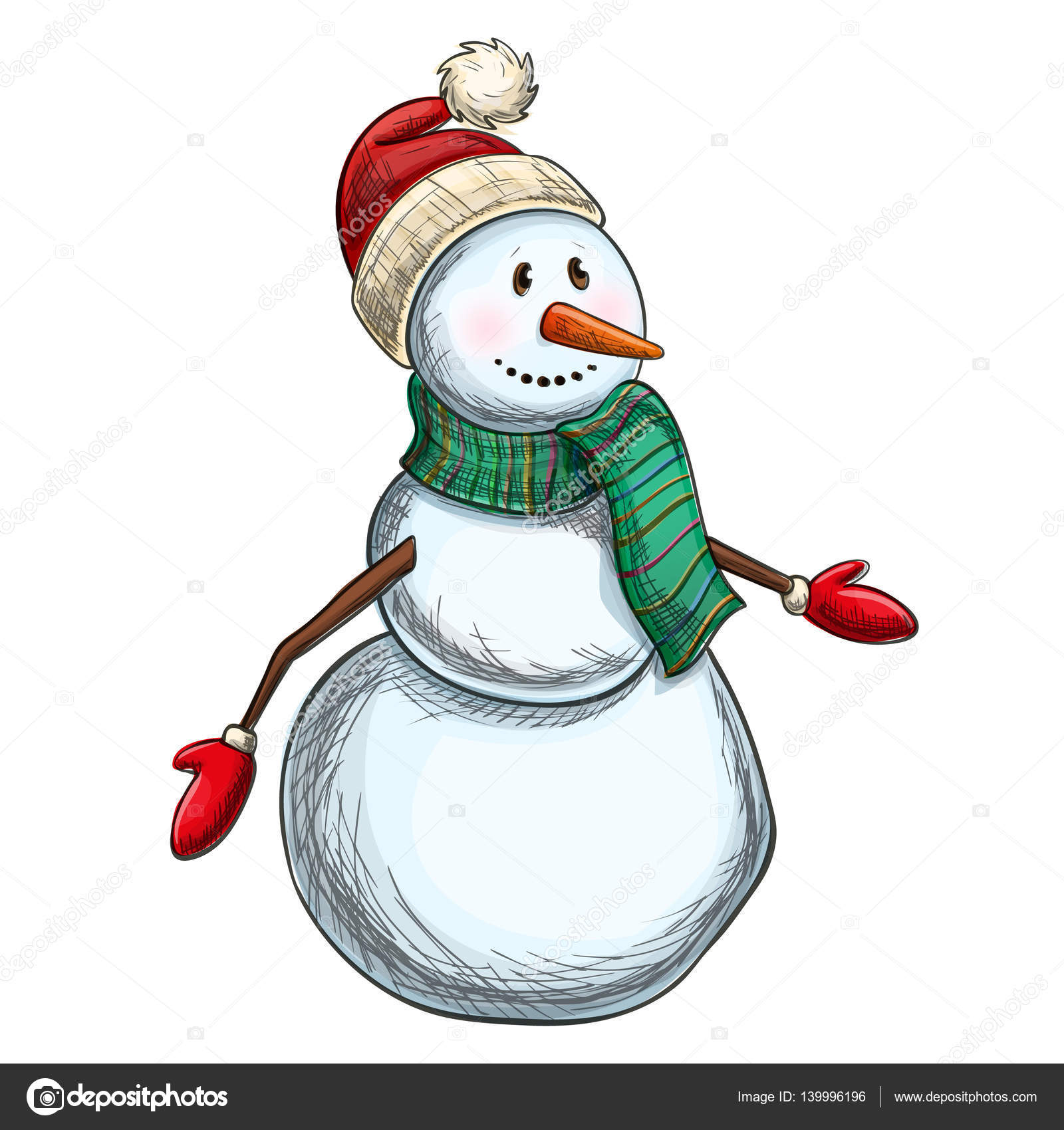 Colorful Sketch Of Christmas Snowman Stock Vector C Alffisky