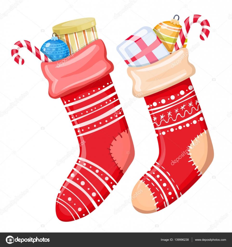 2385bfca9e4 Barevné karikatura obrázek vánoční ponožky s dárky na bílém pozadí. Vektor  — Vektor od alffisky.gmail.com