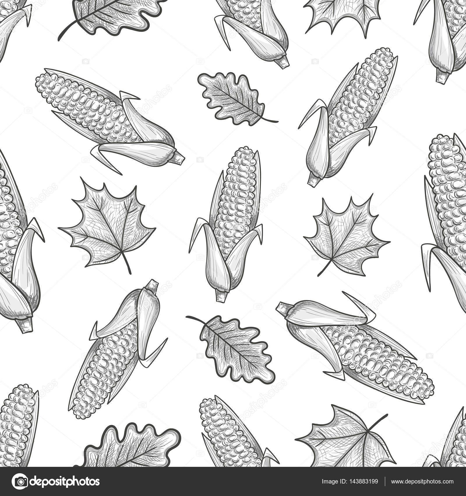 Patrón sin fisuras con maíz y hojas de — Archivo Imágenes ...