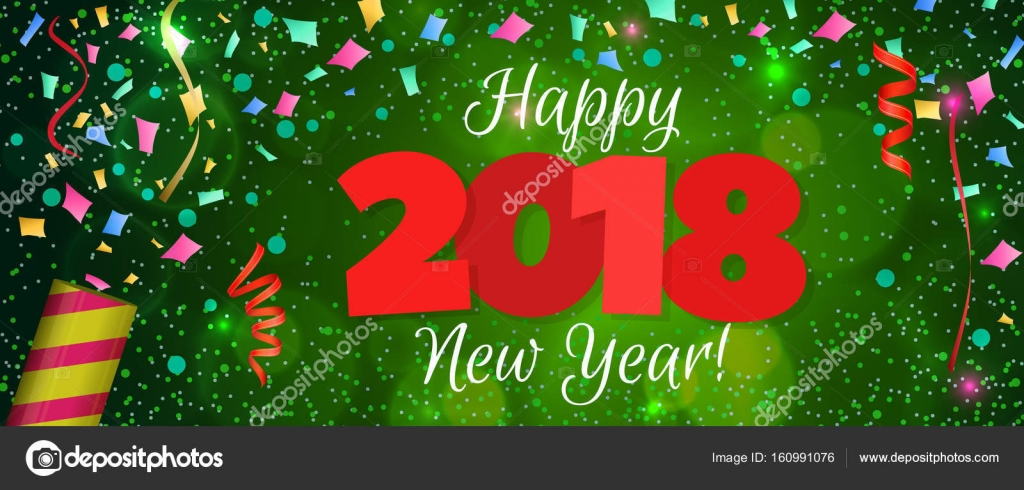 happy new year 2018 greeting horizontal banner festive illustration with colorful confetti party popper and sparkles vector vector by alffiskygmail