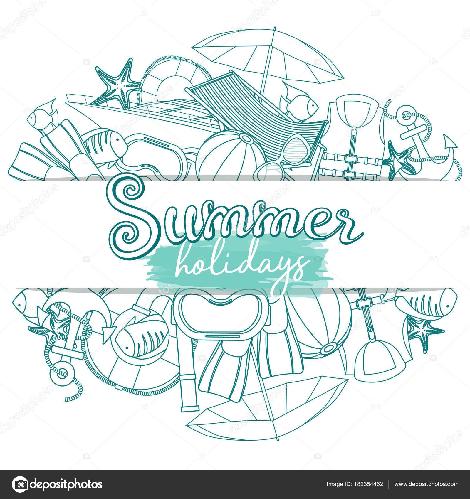 Ensemble d\u0027accessoires de plage été vacances, illustration de dessin animé.  Vector \u2014 Vecteur par alffisky.gmail.com