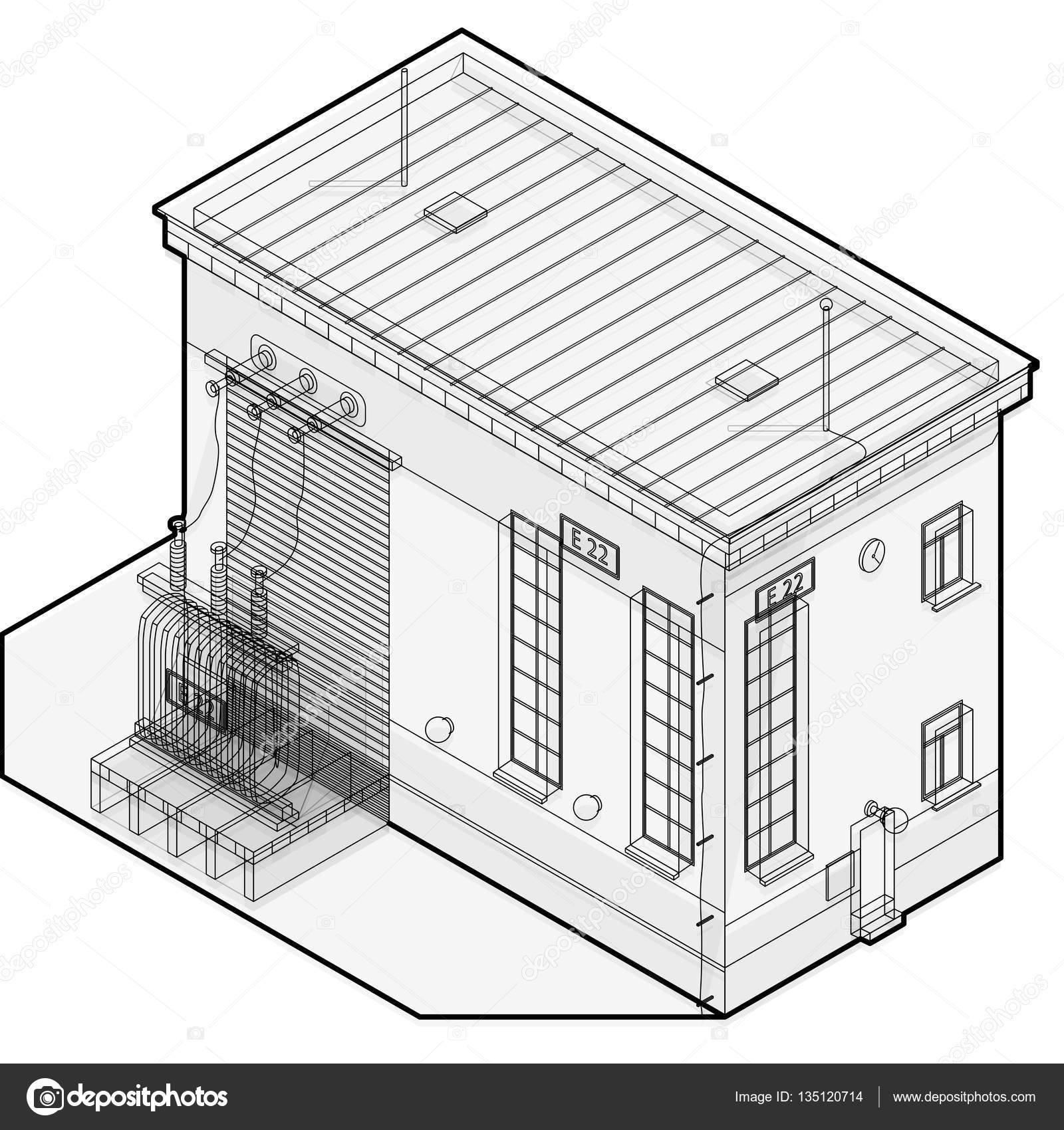 Electric transformer isometric building info graphic. High-voltage ...