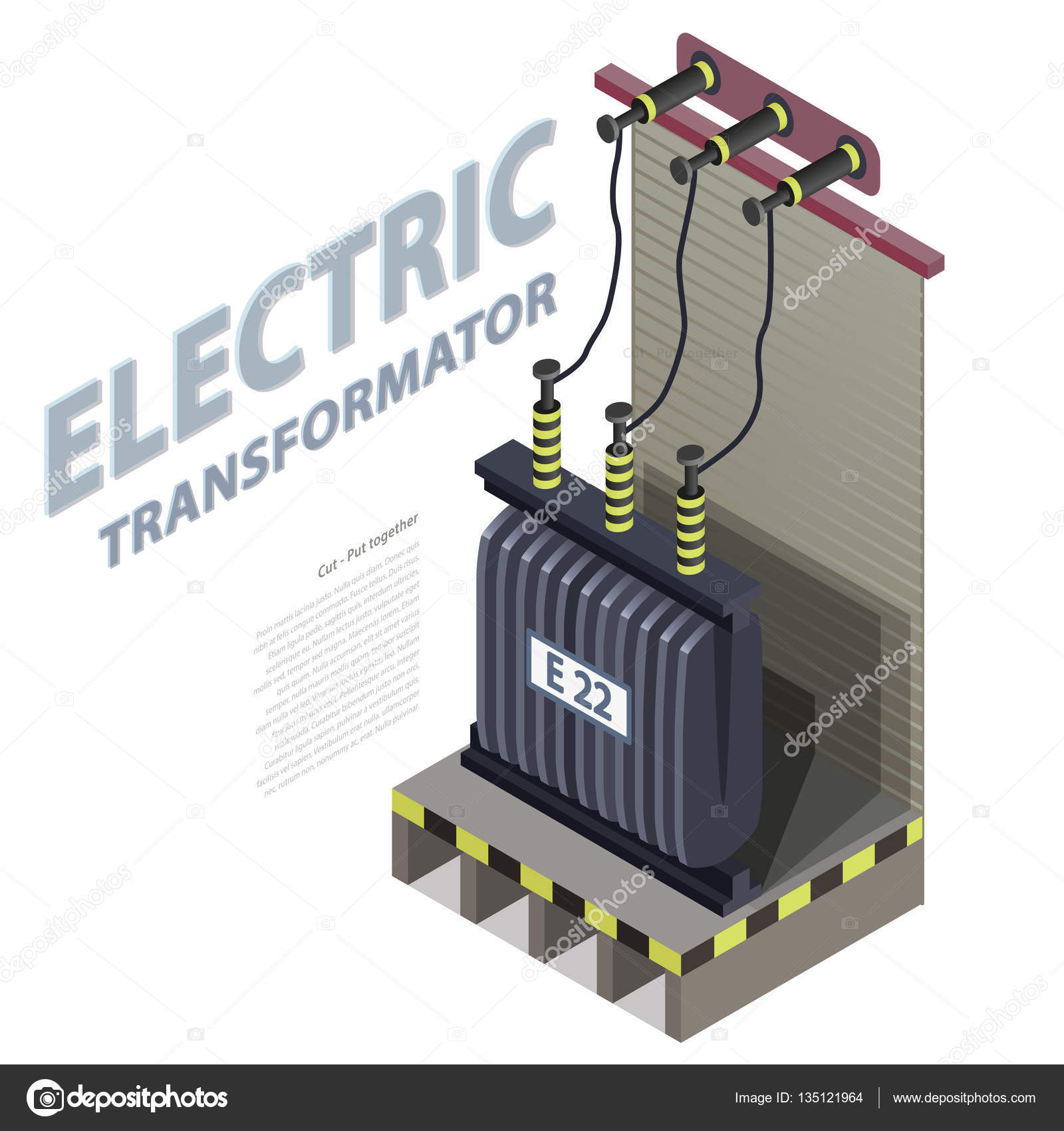 Kraftwerk-Detail. Blaue Power Station. Elektrischen Transformator ...