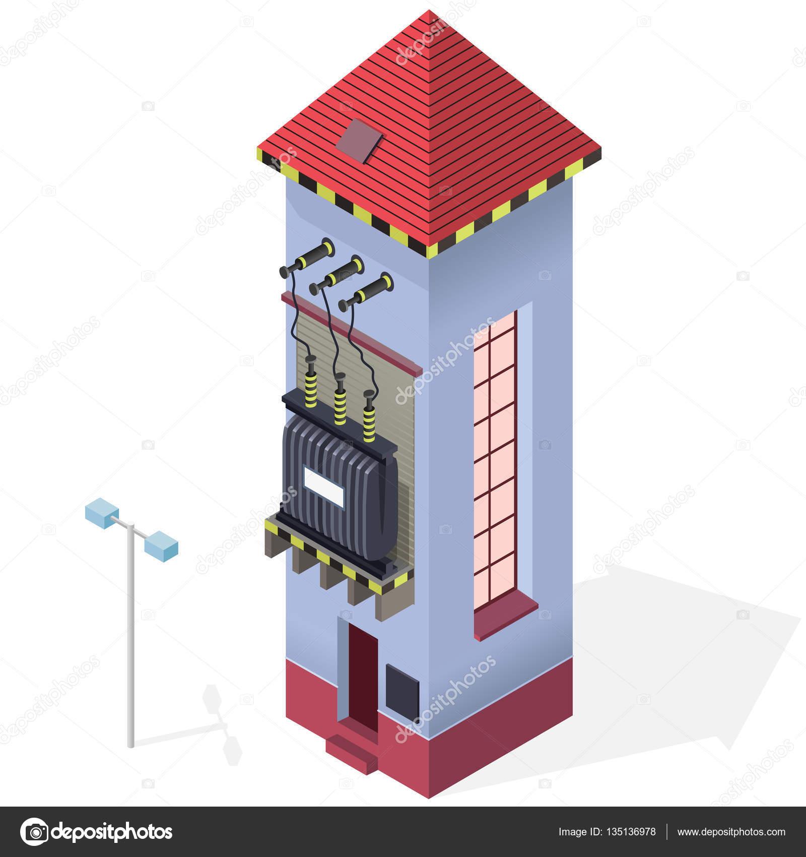 Elektrischen Transformator isometrische Gebäude Infografik ...