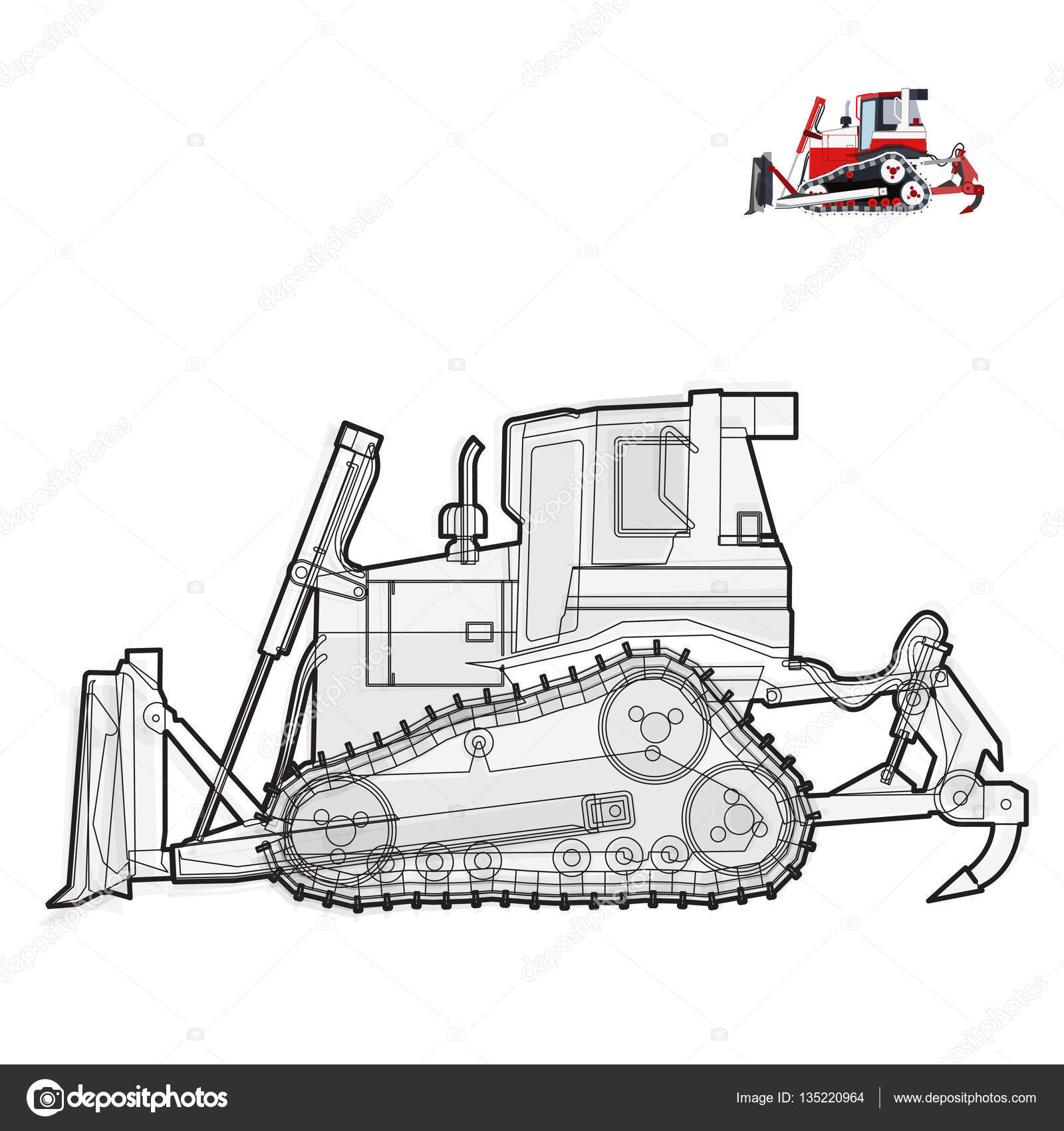 Black and white wire big digger builds roads. Construction machinery ...