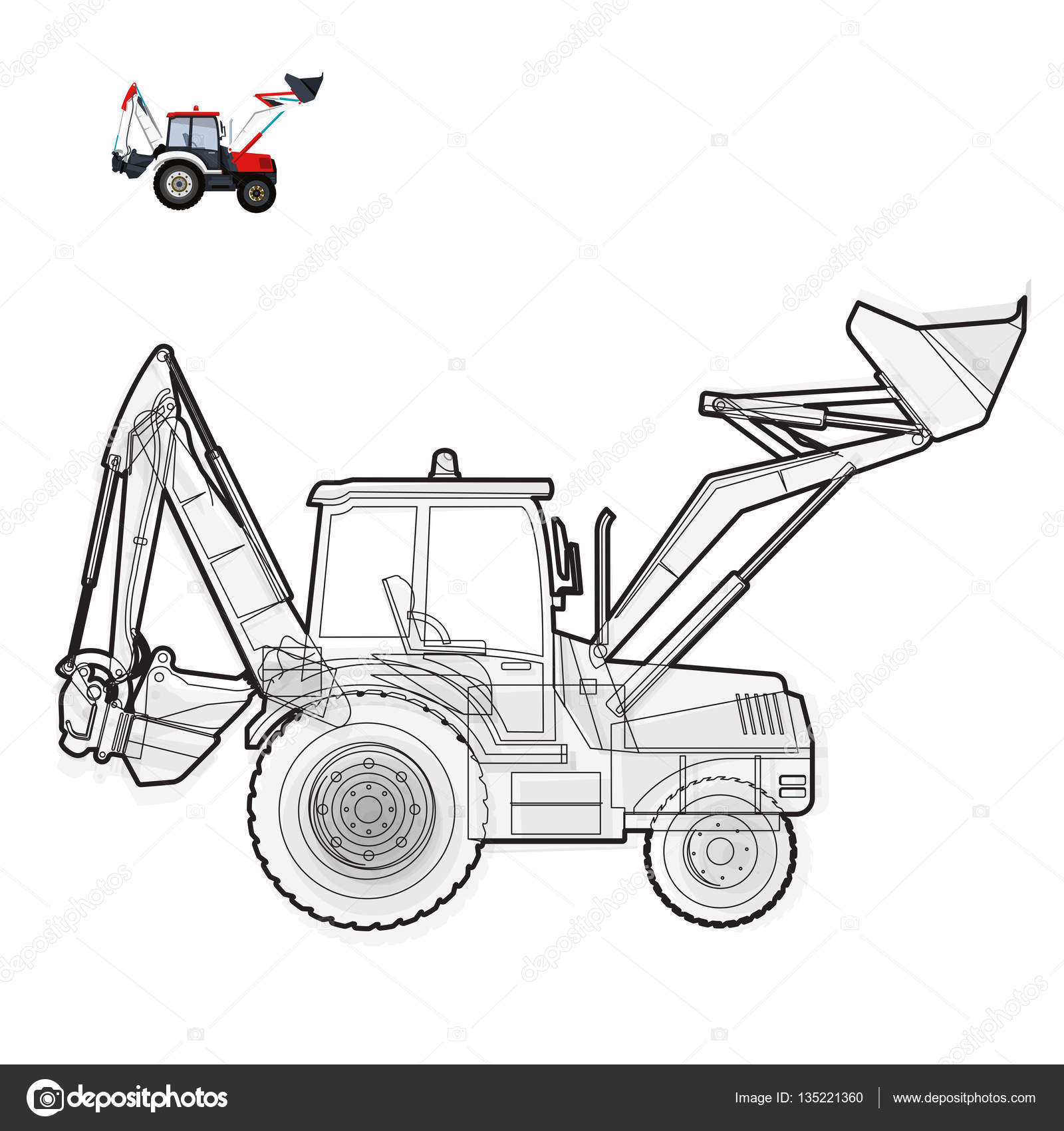 Schwarz / weiß Draht große Bagger baut Straßen. Baumaschinen und ...
