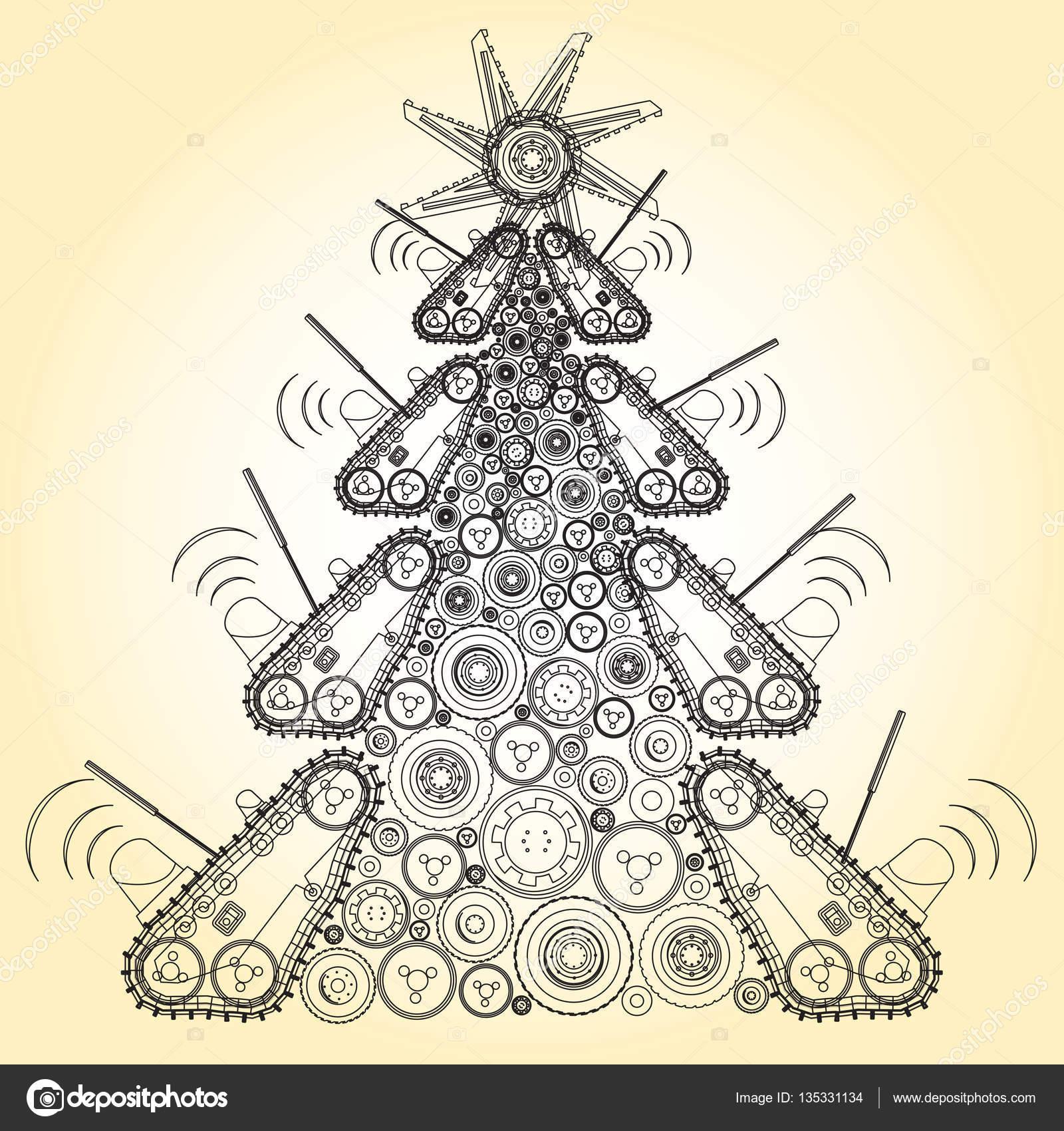 Extraña máquina árbol de Navidad construir de groundworks ...