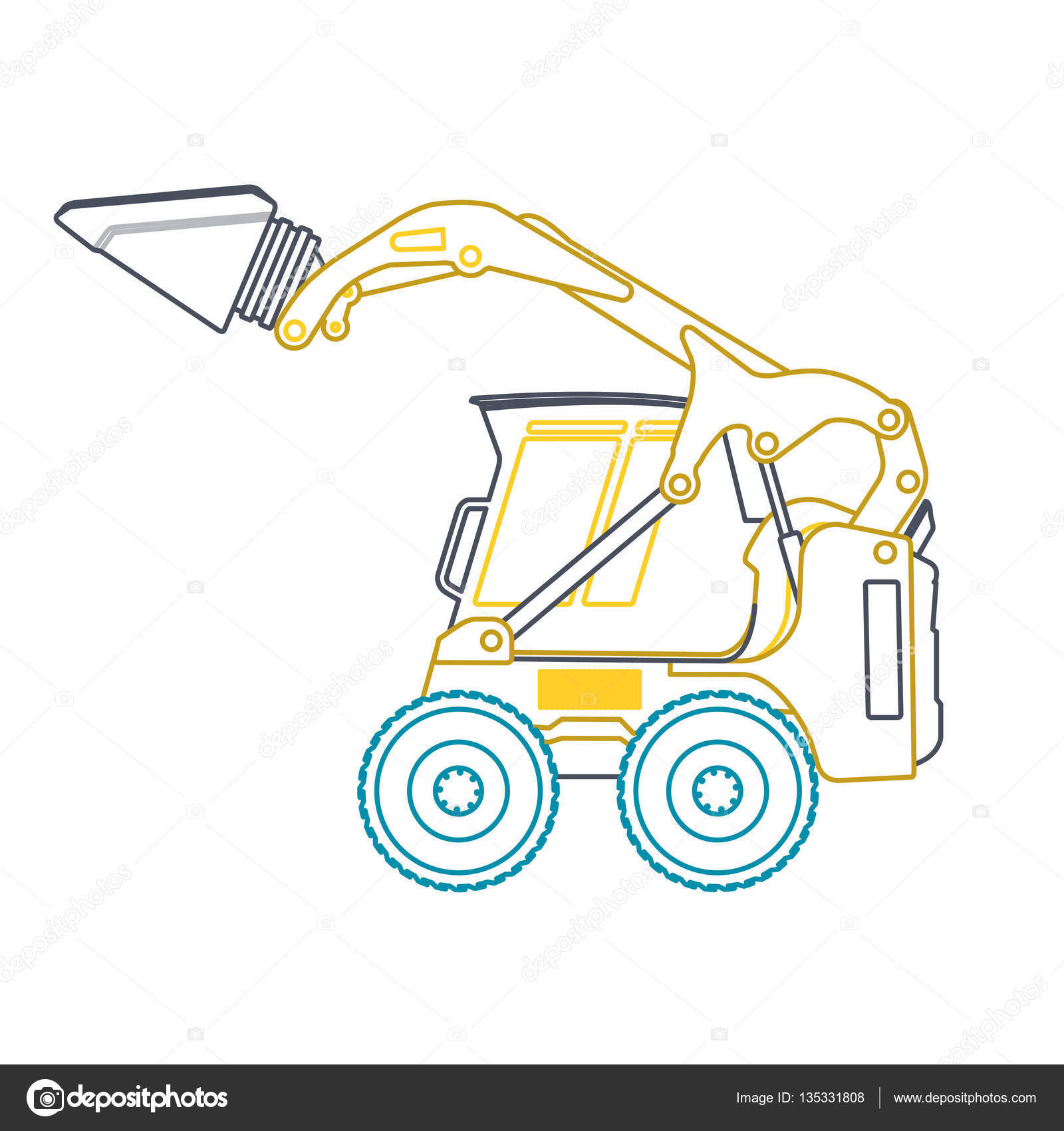 Yellow Blue Small Outline Digger Builds Roads Excavator Loads Building Material Stock Vector