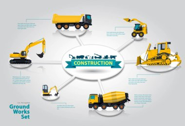 Graphical isometric layout construction machinery. Collection heavy machinery for construction.