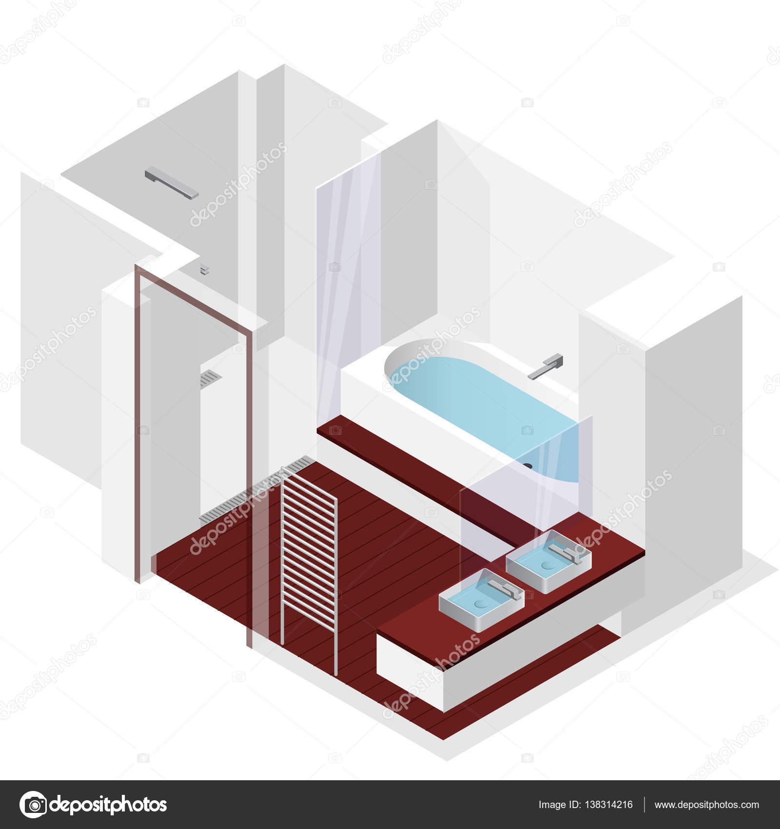 Moderno ba o con piso de madera en perspectiva isom trica for Piso ducha bano