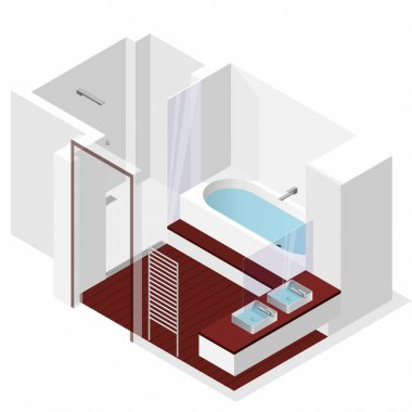 Modern bathroom with wooden floor in isometric perspective. Shower enclosure.
