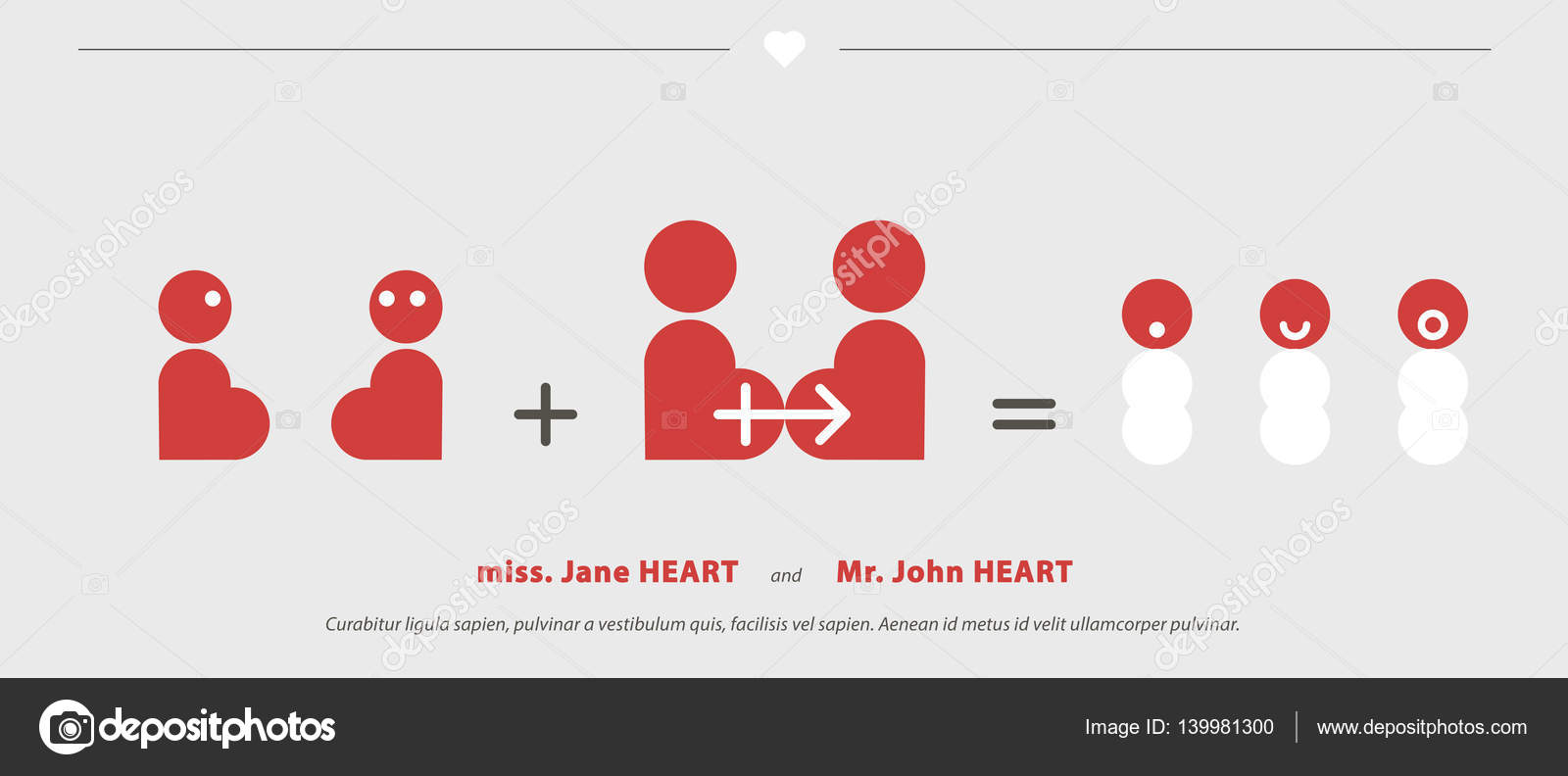 Wedding Invitations with heart strips stylized to bride and groom ...