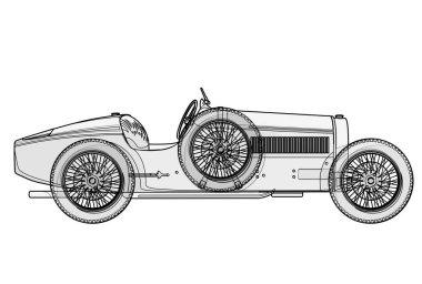 Ancient race car Bugatti in contour lines as per schedule.