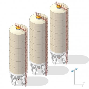 Grain silo, isometric ochre building info graphic on white background.