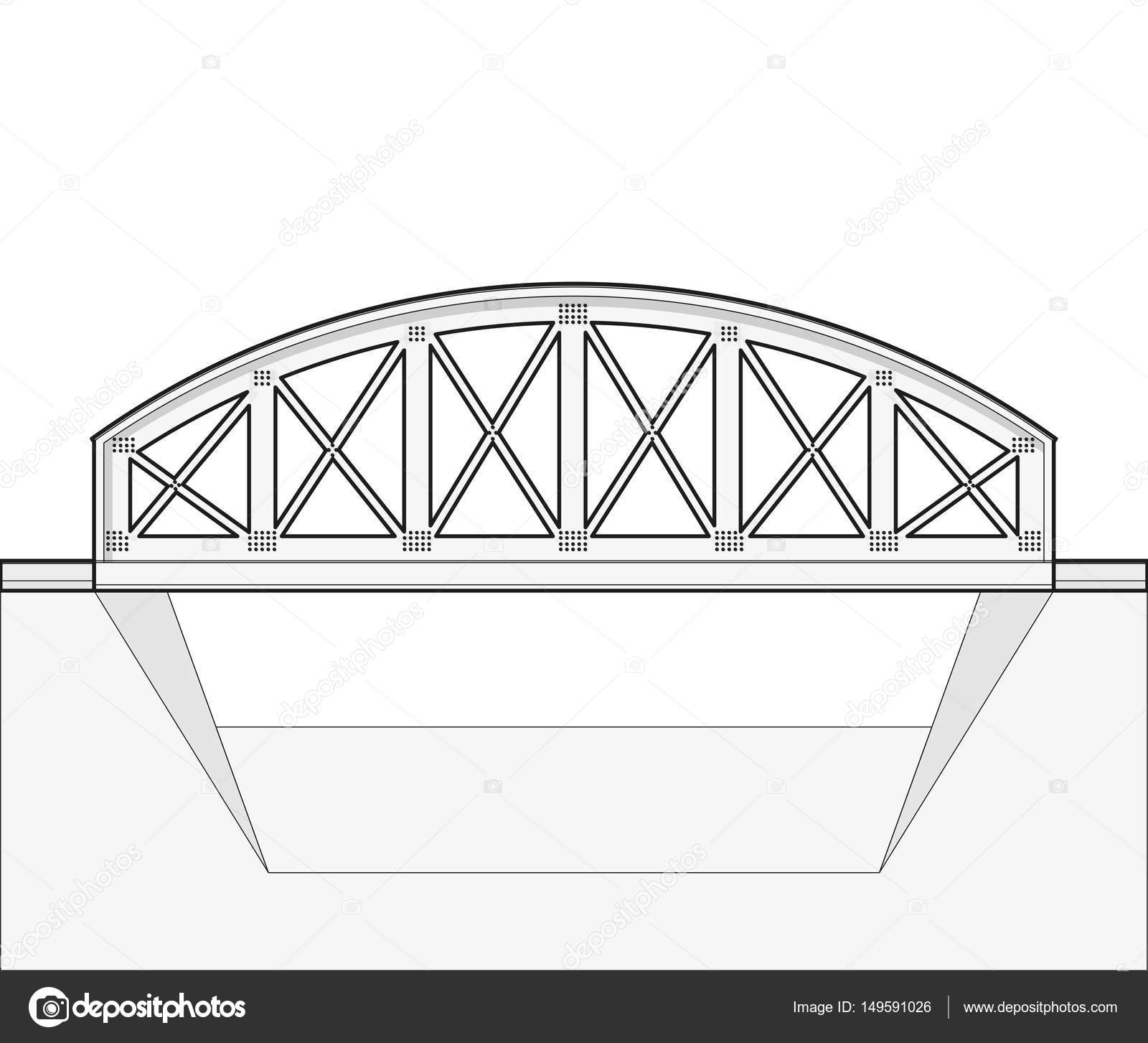 Vector Arched Train Bridge Oulined Side View Isolated White Cantilever Diagram Related Keywords Stock Illustration Background
