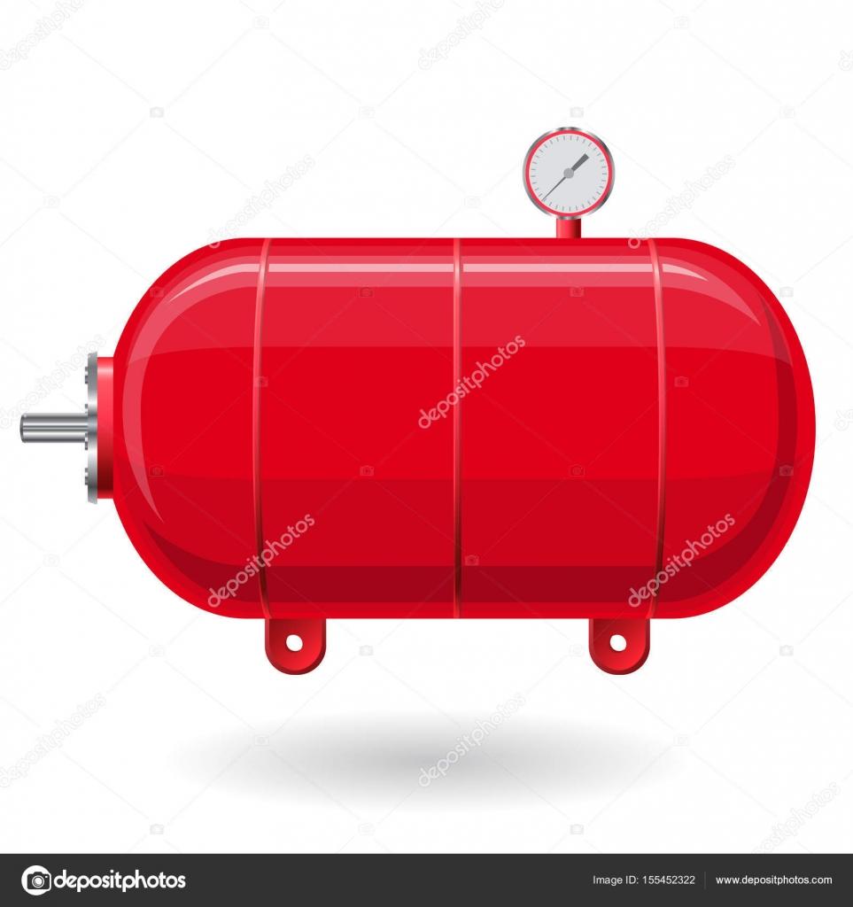 roten druckbehälter für luft, wasser, gas. druckbehälter für die