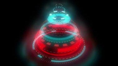 Stilizált bizarr karácsonyfa, fekete háttér előtt álló színes mechanikus spirál kerekek. Videóinak kívánja háttér, ragyogás. Grafikus absztrakt sci-fi Stilizálás, a karácsonyi szimbólum, kulcs, Matt, maszk