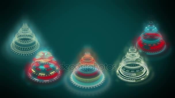 Stylizované bizarní vánoční stromky, modré pozadí tvořené vícebarevné mechanická spirálová kola. Pozadí pro video přání, zářící paprsky. Grafické abstraktní sci-fi stylizace vánoční animace