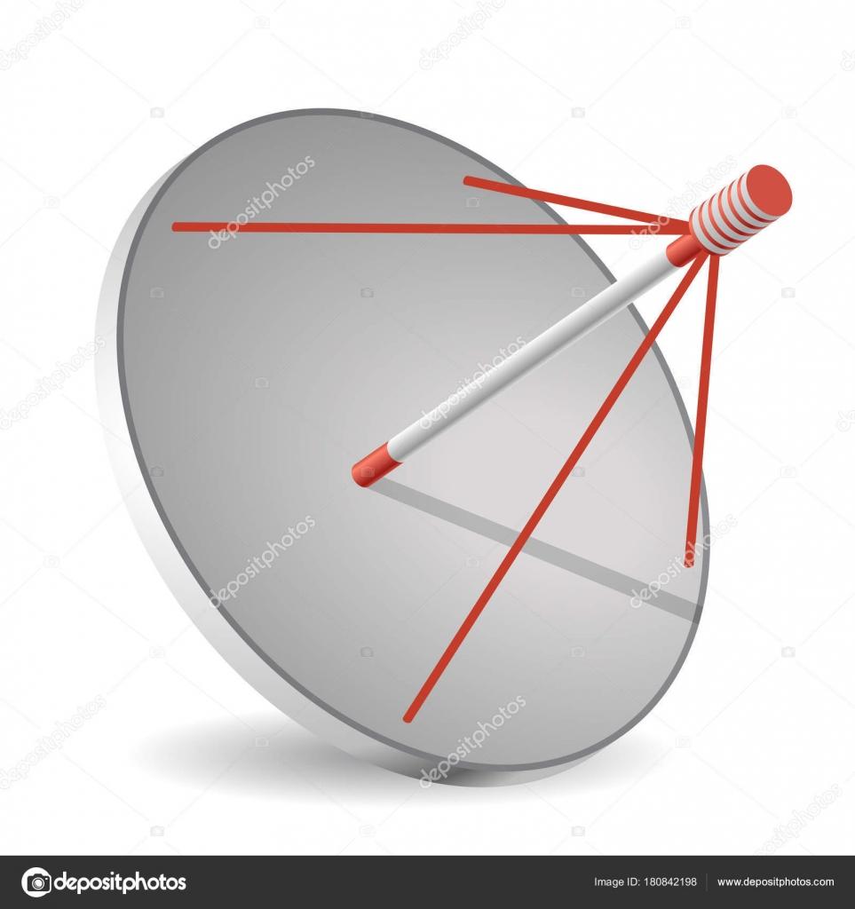vector antenne parabolique perspective isométrique isolé fond blanc