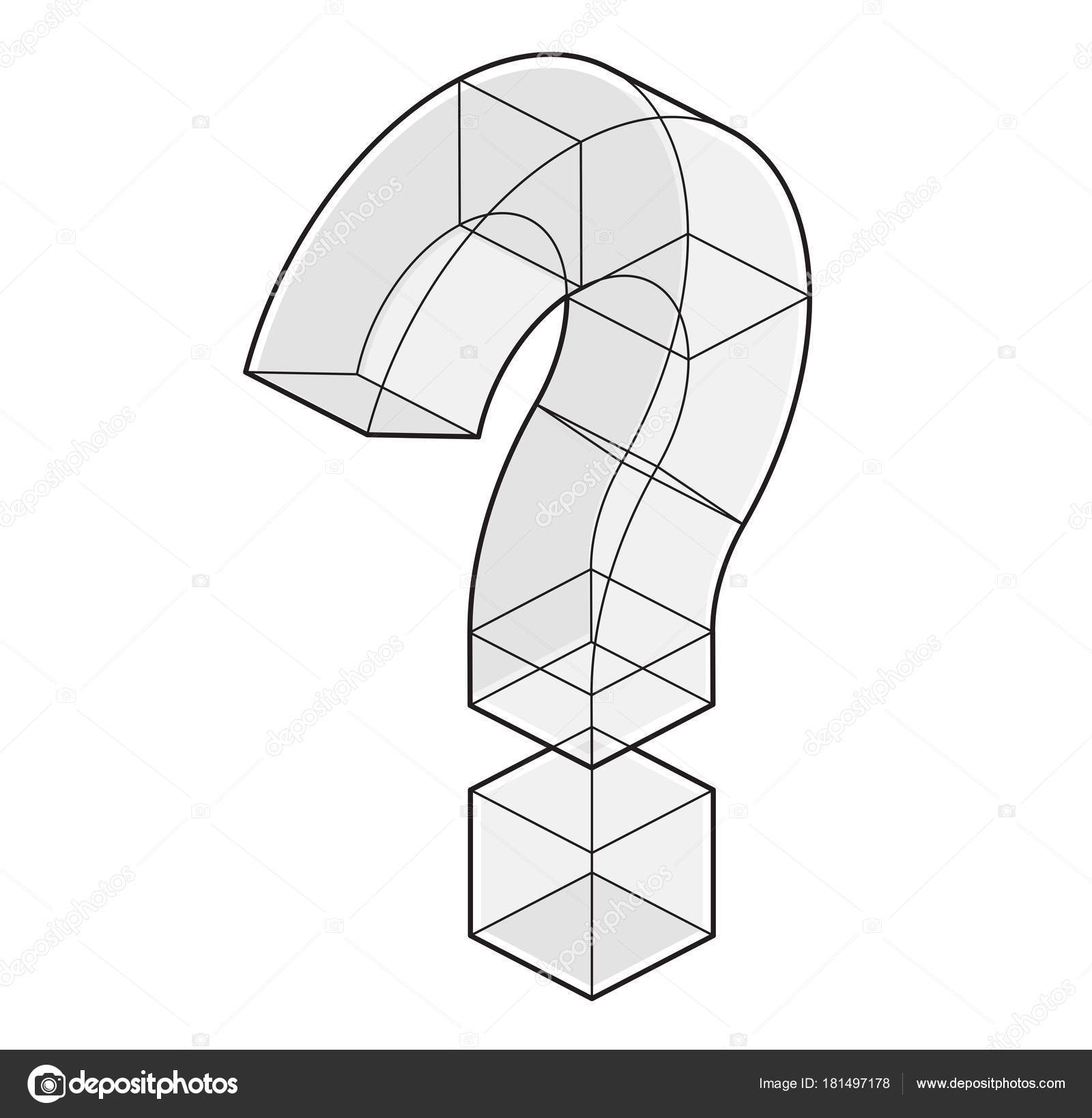 Outlined Question Mark Isometric Perspective Isolated White ...