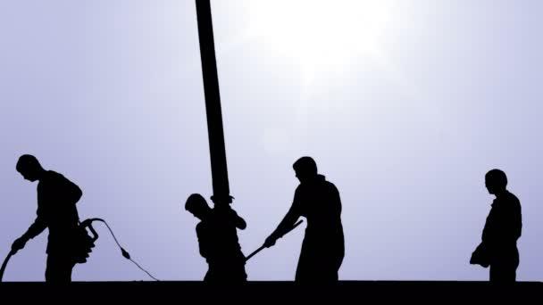 Dělníci pracují na budování stropě, grafická stylizace siluetu. Lití betonu čerpadlem na střechu rodinného domu. Čerpadlo na beton, nebe a slunce v pozadí