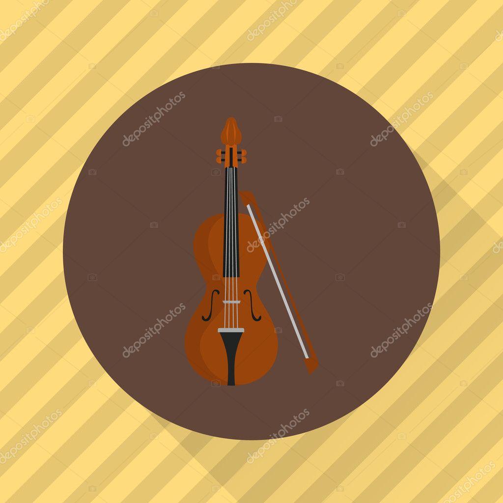 Violin music instrument  Color flat icon — Stock Vector