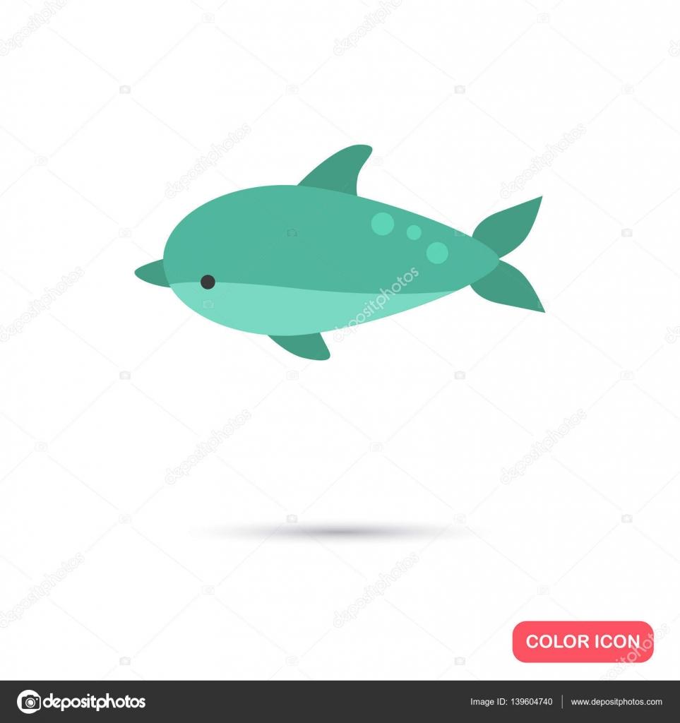 Dolphin color flat icon — Stock Vector © lynxvector #139604740