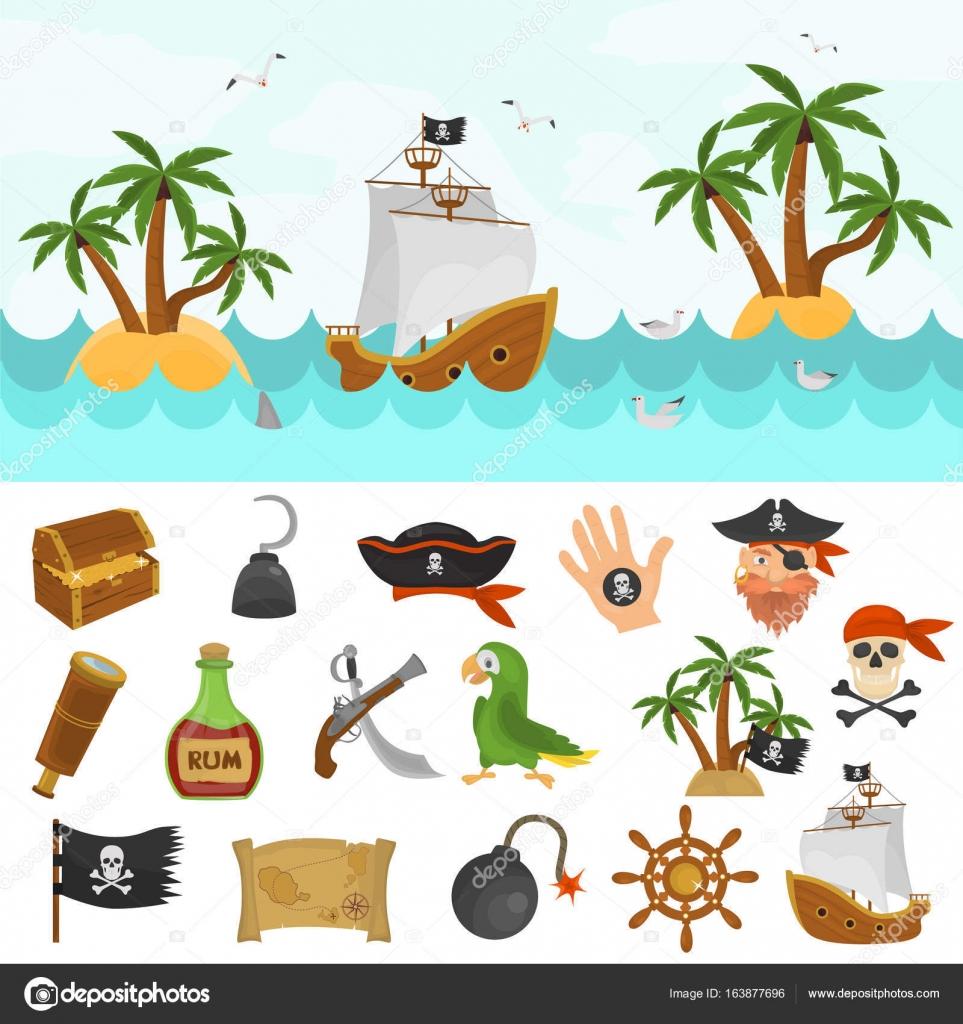 Piratas tiempo conjunto de iconos de colores. Barco pirata en la ...