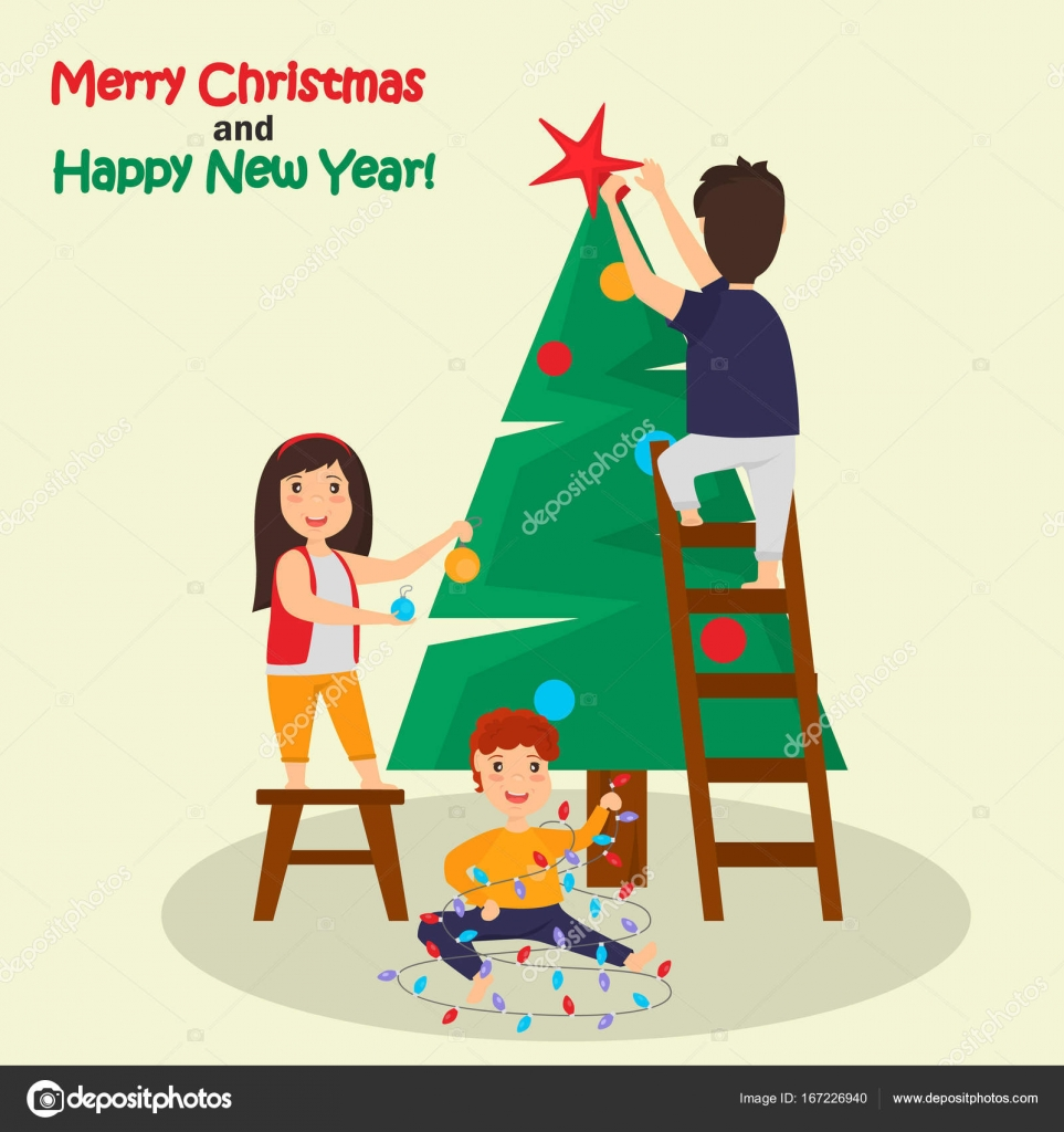 Children decorate Christmas tree color illustration — Stock Vector ...