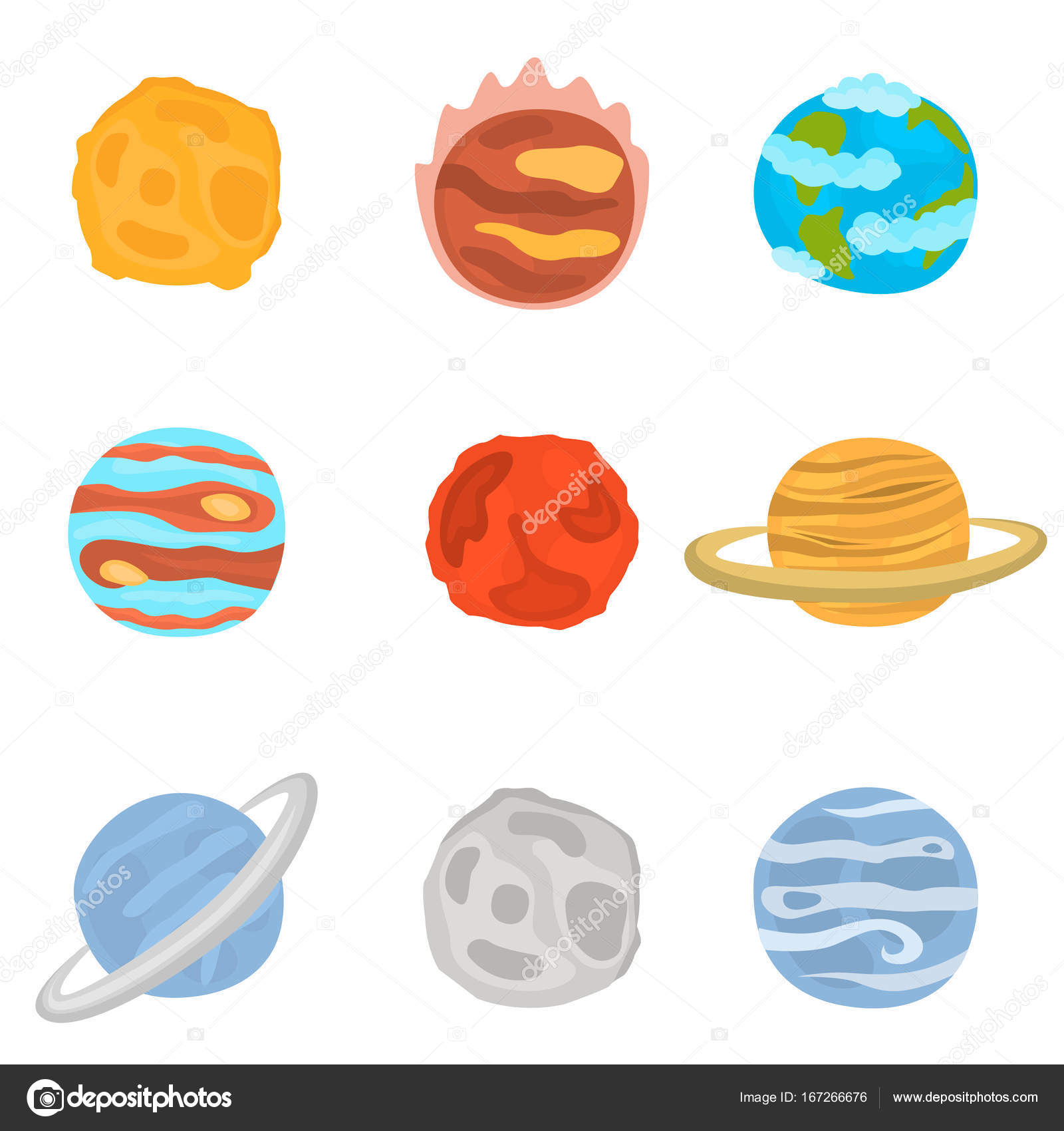 planets of solar system color icons set stock vector lynxvector
