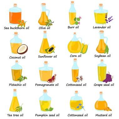 Set of different natural oils bottles color flat icons