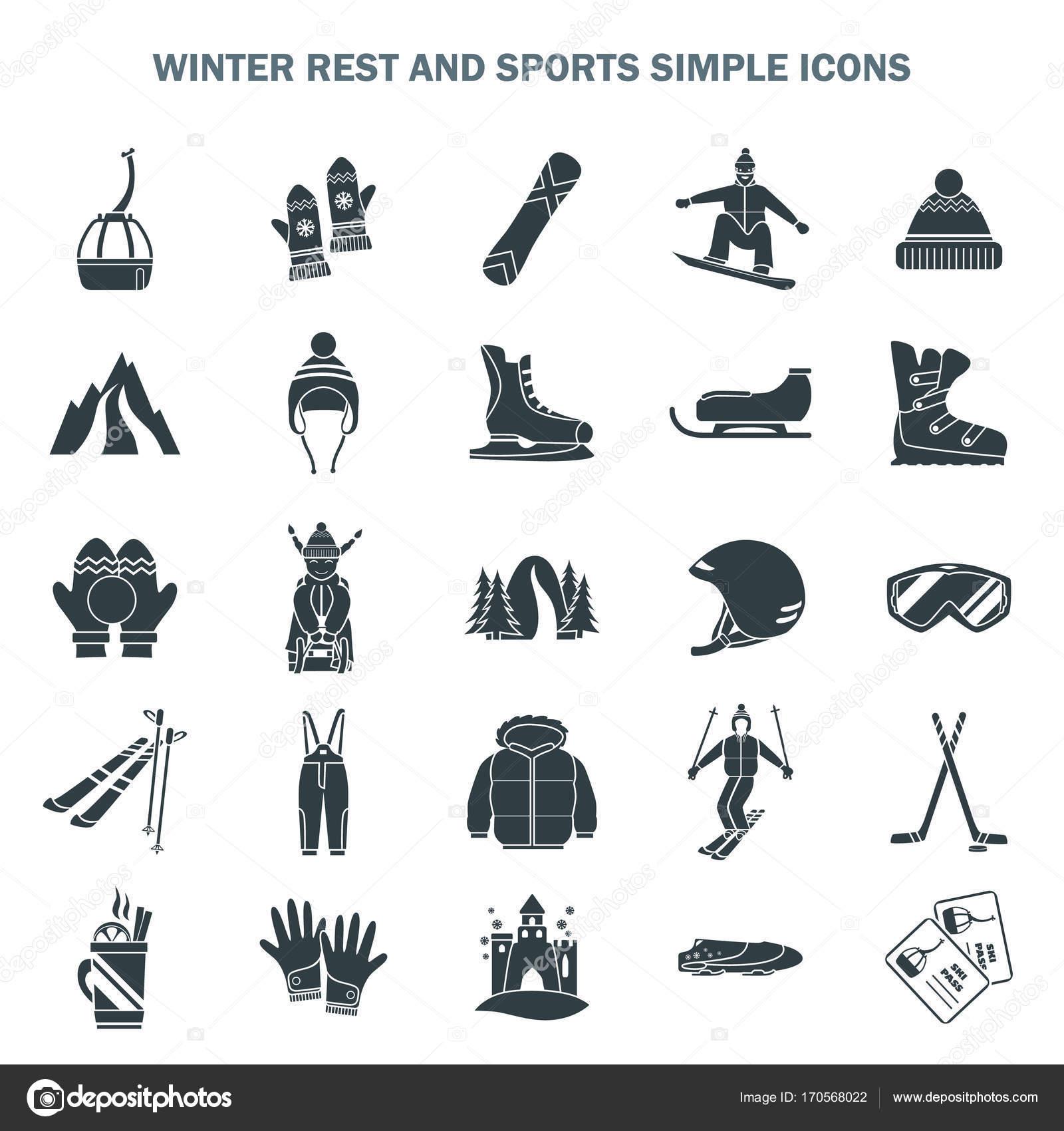 Winter Sport und Spaß-einfache Symbole-Satz — Stockvektor ...