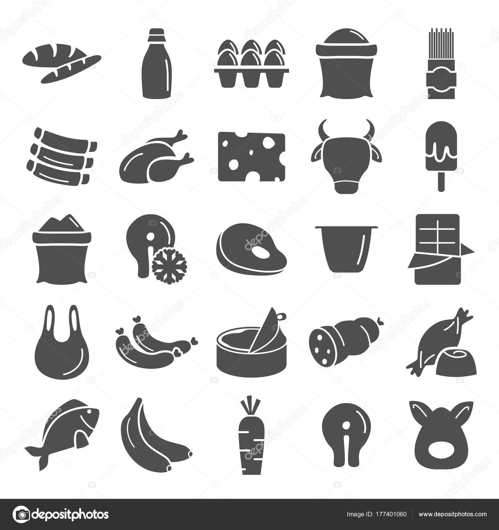 Lebensmittel Markt Produkte einfache Symbole festlegen — Stockvektor ...